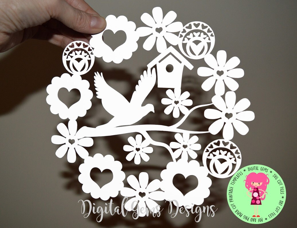 Dove And Flower Paper Cut Svg Dxf Eps Files And A Etsy