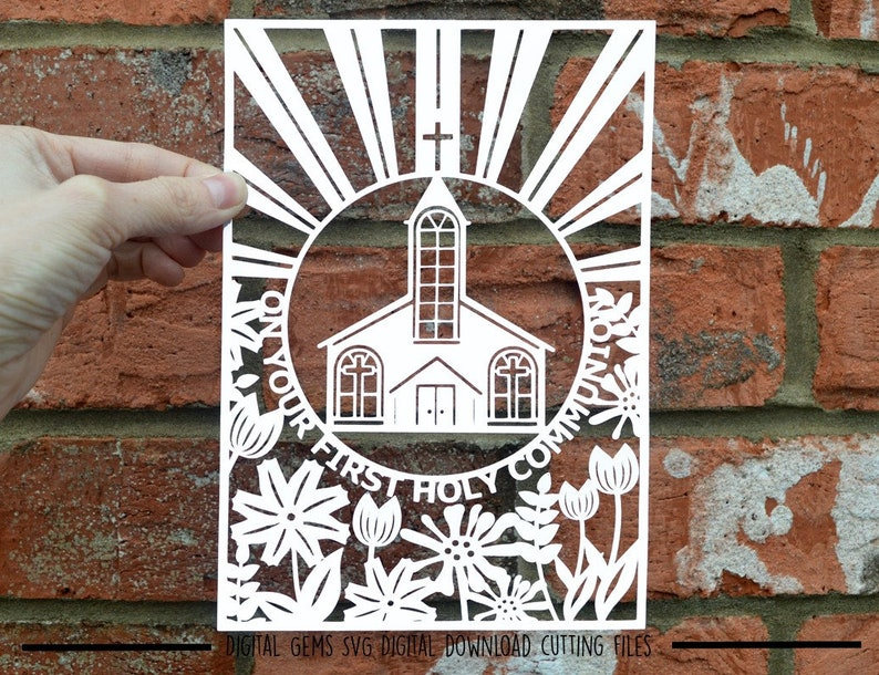 first holy communion paper cut svg  dxf  eps files and