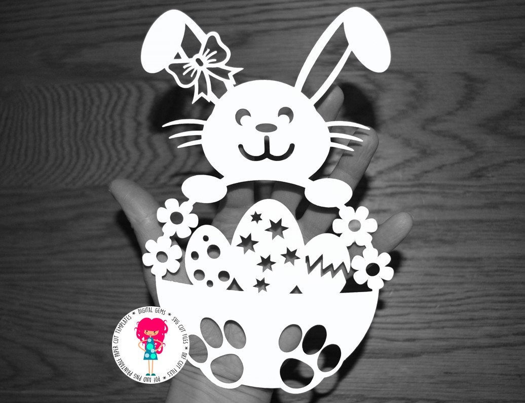 Girl Easter Bunny Rabbit Papercut Template SVG / DXF Cutting | Etsy
