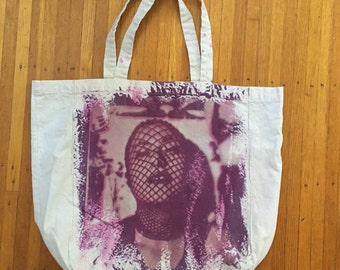 """Hand dyed uv printed cotton tote-""""Kayla"""" in purple & magenta"""