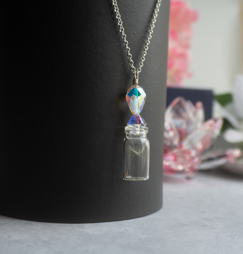 Dandelion Necklace Bottle Necklace Gifts For Mom First Mothers Day Gift Crystal Pendant Crystal Jewelry Dandelion Jewelry