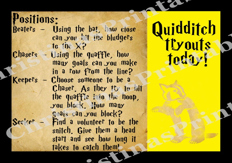 Harry Potter Hufflepuff Quidditch Poster ~ Instant Download Party Decoration