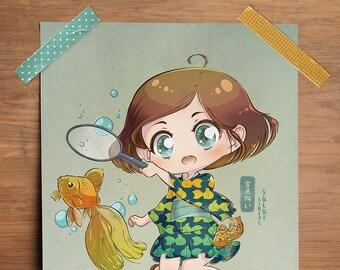 "Goldfish Scooping - Original 8.5"" x 11"" Print"