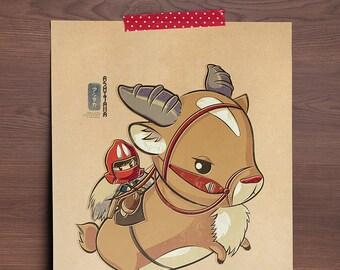 Chibi Ghibli Print - Ashitaka & Yakul (Princess Mononoke)