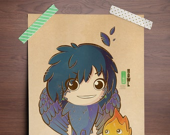 Chibi Ghibli Print - Howl & Calcifer (Howl's Moving Castle)