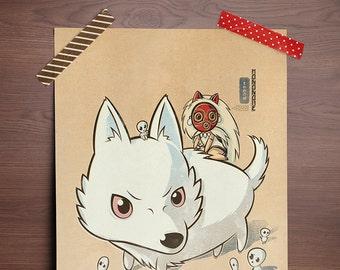Chibi Ghibli Print - San, Moro, Kodama (Princess Mononoke)