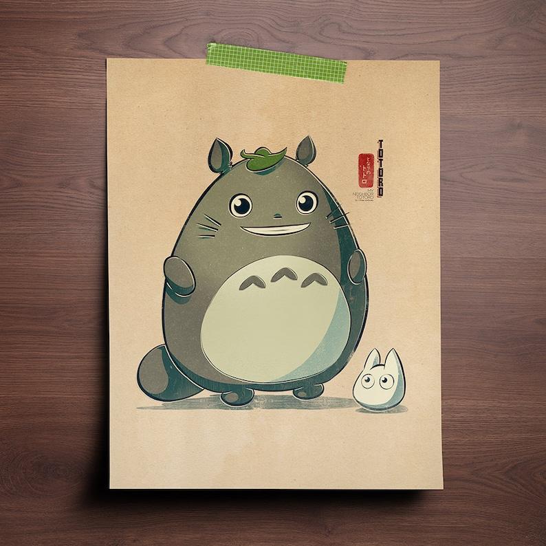 Chibi Ghibli Print  Totoro My Neighbor Totoro image 0
