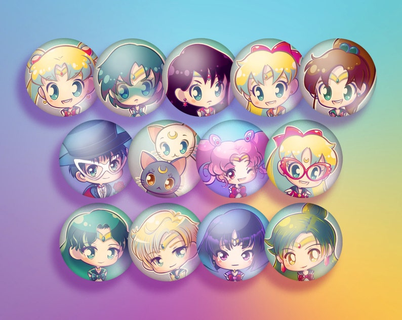Sailor Moon Pinback Button Set image 0