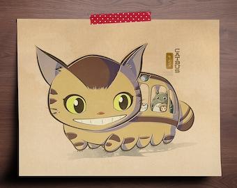 Chibi Ghibli Print - Catbus (My Neighbor Totoro)