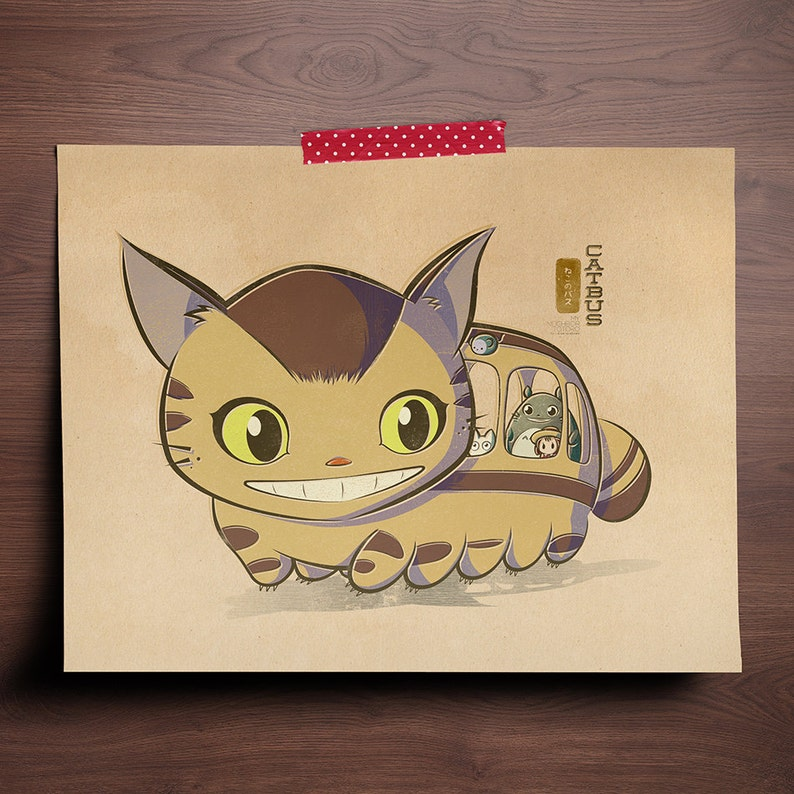 Chibi Ghibli Print  Catbus My Neighbor Totoro image 0
