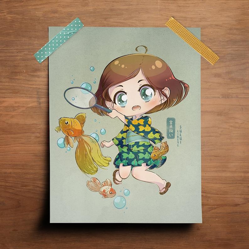 Goldfish Scooping  Original 8.5 x 11 Print image 0