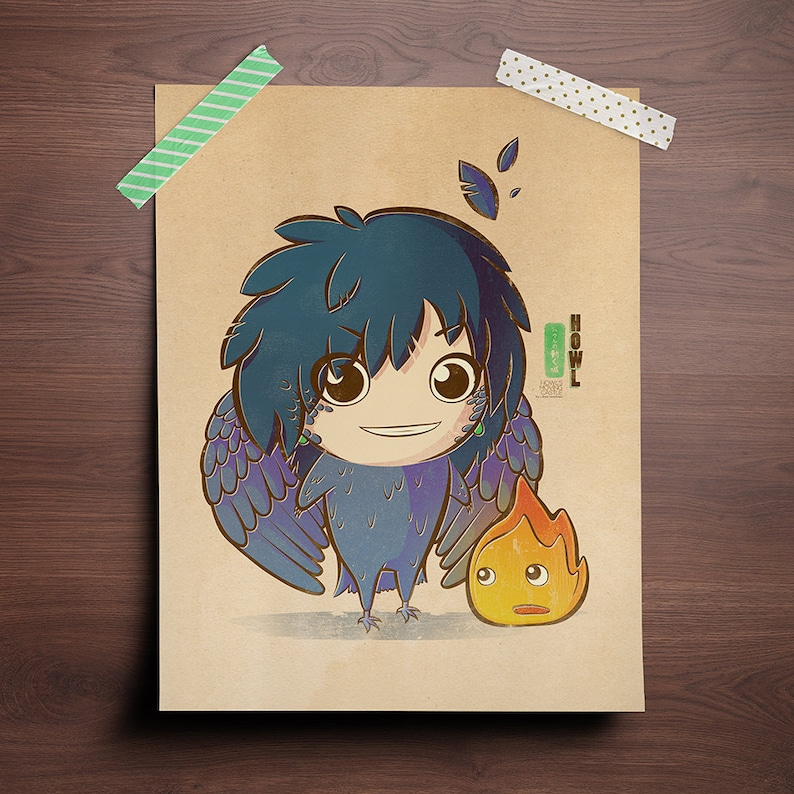 Chibi Ghibli Print  Howl & Calcifer Howl's Moving image 0