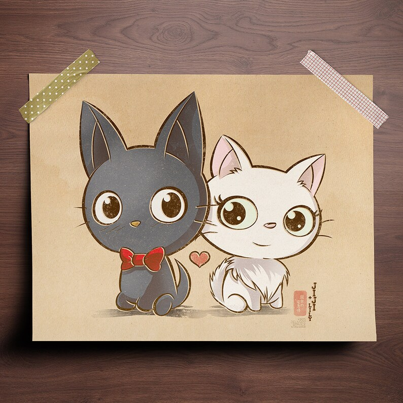 Chibi Ghibli Print  Jiji and Lily Kiki's Delivery image 0