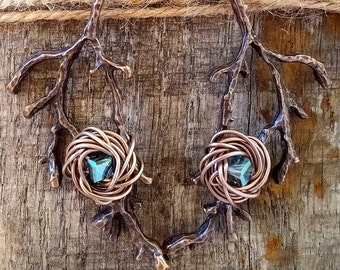 Rustic Tree Branch, Rustic Tree Branch Earrings, Rustic Dangle Earrings, Bird Nest