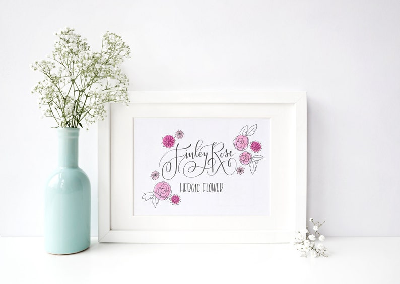 New Baby Name Meaning Flowers Original Hand Lettered Illustration