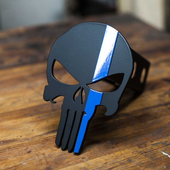 Kempter Kustoms Punisher Distressed Blue Trailer Hitch Cover