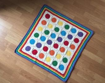 Rainbow circle blanket, rainbow baby blanket, crochet baby blanket, crochet blanket