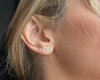 a4e7a8812 Mountain earrings; stud earrings; gold or silver earrings; the mountains  are calling; mountain jewelry; dainty earrings