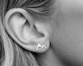 f1973647d Mountain earrings; stud earrings; gold or silver earrings; the mountains  are calling; mountain jewelry