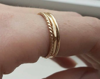 Gold stacking ring set (THREE RINGS); rose gold stacking rings; stackable rings; gold rings; rose gold rings; hammered rings; multi rings