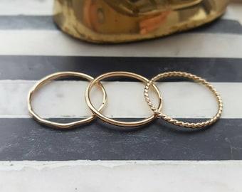 Gold stacking ring set (TWO RINGS); rose gold stacking rings; gold rings, rose gold rings; stackable rings; dainty rings; gold stacking ring
