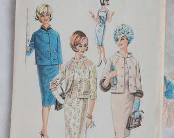 Vintage 1960s suit pattern, Style Print 1503, sheath dress and boxy jacket, size bust 36 inches, 1960s