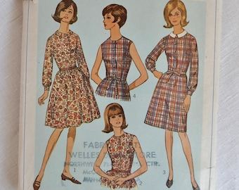 Vintage 1960s dress pattern, Simplicity 6308, Dress with two skirts and collar variations, 1965, size bust 36 inches