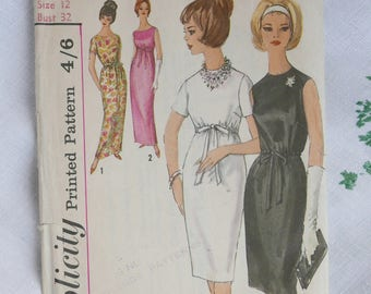 Vintage dress pattern, Simplicity 5224, dress in two lengths, 1960s, size 32 inch bust