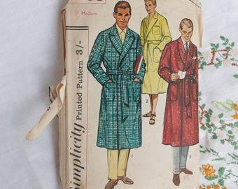 Vintage men's robe and beach robe pattern, Simplicity 1758, size medium, 38-40 inch chest, 1956