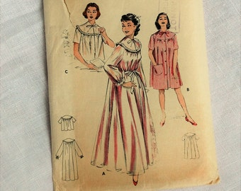 Vintage 1950s nightwear sewing pattern, Butterick 6997, Peignoir, short night-gown and bedjacket, 1950s, size bust 34 inches