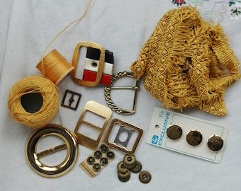 Vintage sewing kit, gold theme, vintage sewing notions