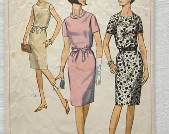Reduced Vintage 1960s dress pattern, Simplicity 6458, 1966, size 42 inch bust