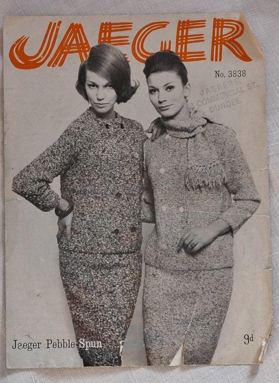 Vintage Jaeger Knitting Pattern Jacket Scarf And Skirt 1960s Etsy
