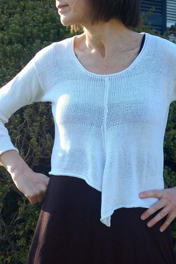 Crop Asymmetric Hand Knit Sweater Knitting Pattern Uneven | Etsy