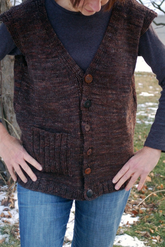 Easy To Knit Vest Knitted Vest Invested Vest Knitting Etsy