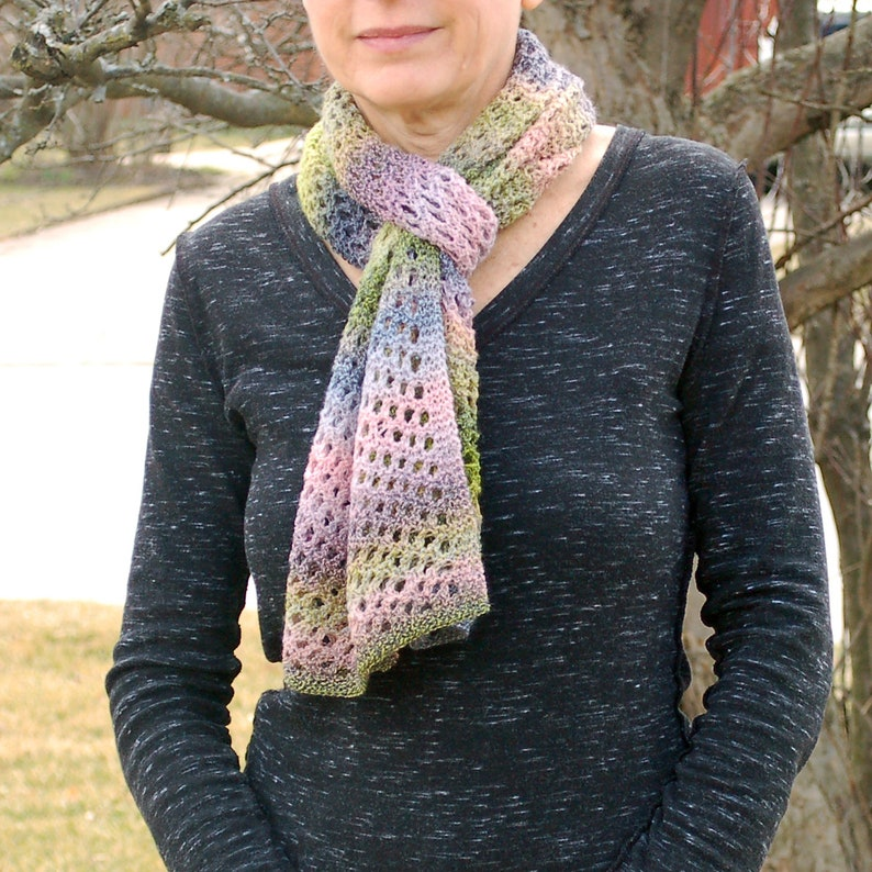 Knit Lace Scarf Knitting Pattern Women S Lace Scarf Etsy