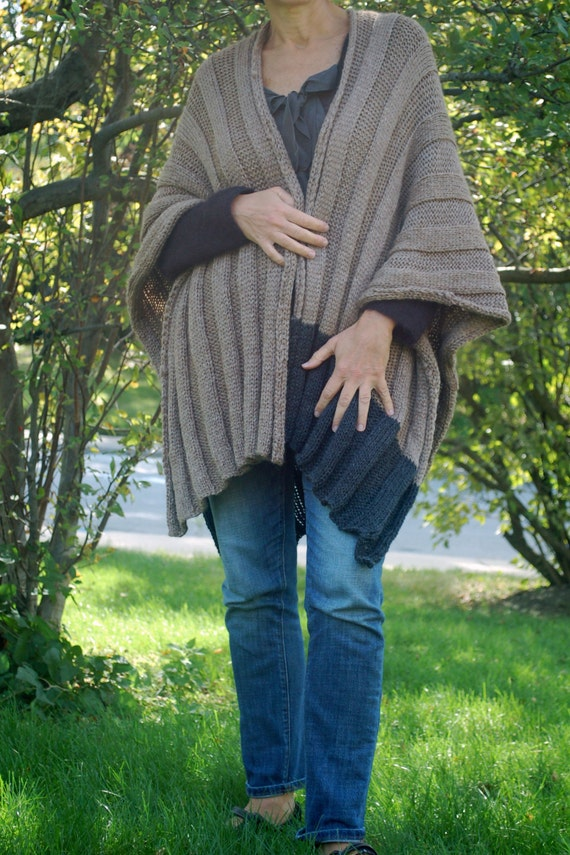 Easy To Knit Wrap Easy To Knit Ruana Poncho Knitting Etsy