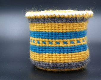 Sally Bag , Twined basket, (Yellow, gray, blue)