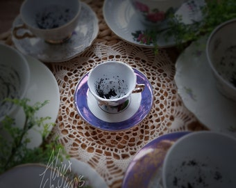Miniature - My dear.. You have the Grimm! - Magic Teacup & Saucer - Divination - Wizard School - Handpainted