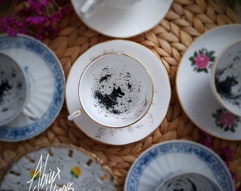 My dear.. You have the Grimm! - Magic Teacup & Saucer - Divination - Wizard School - Handpainted
