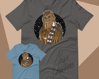 Chewie with Bird - Space Wars - Unisex T-shirt with short sleeve