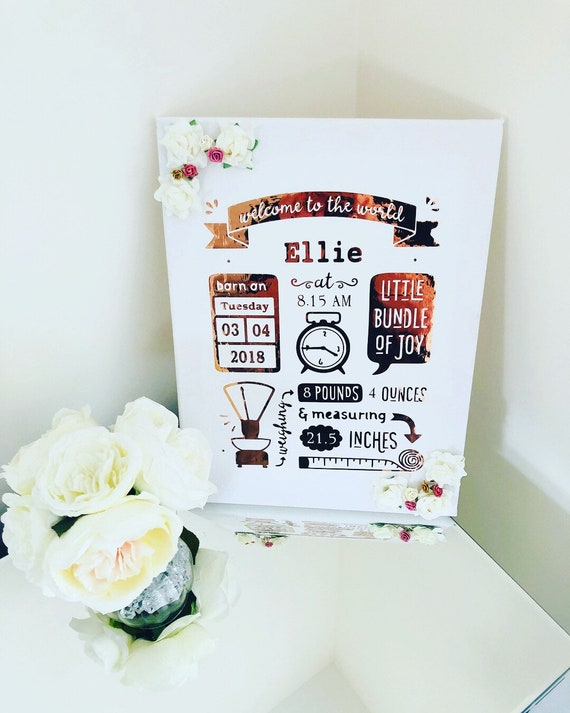 Birth Stats Canvas Birth Stats Frame New Baby Gifts Baby Etsy