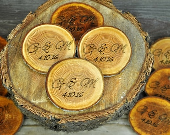 "engraved rustic wood coasters, personalized wood coaster, rustic wood slices, engraved  tree slices, 3""- 4"" personalizes wood coasters"