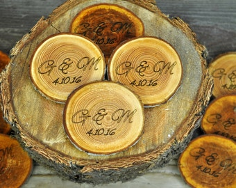 "Wood coasters, engraved, rustic, personalized wood coaster, rustic wood slices, engraved  tree slices, 3""- 4"" personalizes wood coasters"