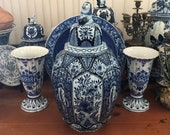 HUGE Old Delft Ginger Jar Vase Large 20 quot Chinois Delfts Blauw 花王 Kaou Pioen Peony Deksel Vaas Urn Lion Finial Jug Maastricht Petrus Regout