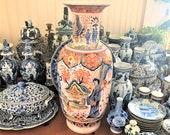 Huge Delft Imari Vase Monumental 26 quot H Chinois Delft Polychrome 花王 Kaou Pioen Peony Vaas Personages Urn Jug Louis Francois Fourmaintraux