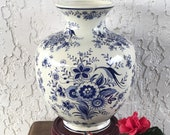 Rare Delft Vase Large Delfts Blauw Vaas Chinois 花王 Kaou Pioen Peony Blossoms Bird Faience Urn for Jema Holland by H Bequet Belgium Free S H