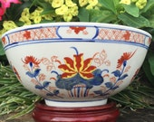 ACF Imari Punch Bowl Exotic Japon Floral Japanese Porcelain Ware Fruit Bowl Red White Blue Hand Painted In Hong Kong China PRC
