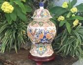 1800 39 s Old Delft Ginger Jar Rare Parrots Lyrebird Large Delfts Polychroom Chinois Gemberpot Deksel Vaas Vase Urn Jug Netherlands Free SH