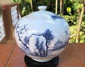 Old Sometsuke Ko-Imari 水差し Mizusashi Fresh Water Pot 山水 Sansui 山 Mountain Landscape Seascape Vase Porcelain Fisherman Ginger Jar Jug Japan